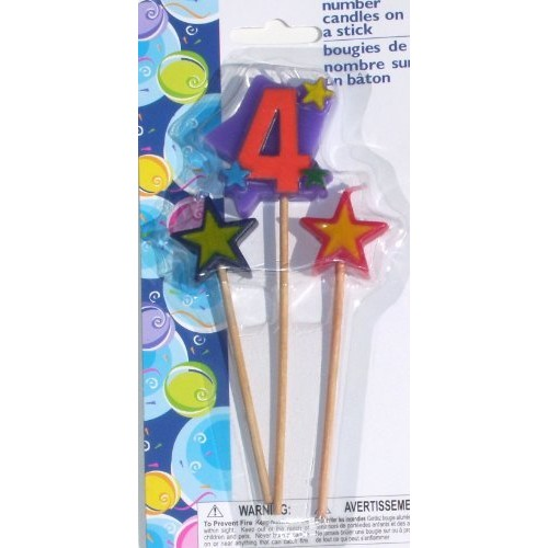 Number Birthday Cake Candles / Toppers / Decorations / Kit / 3 P...