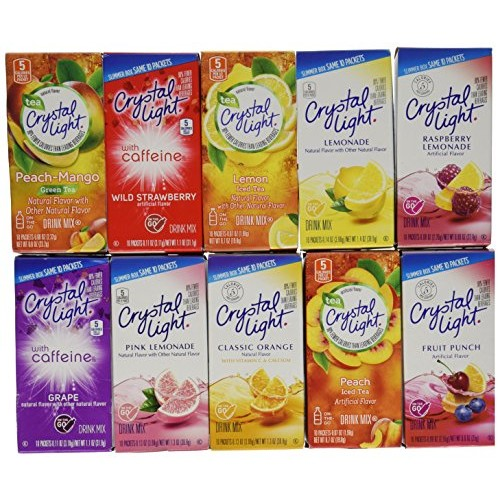 crystal light drink mix variety on the go  pack with 10