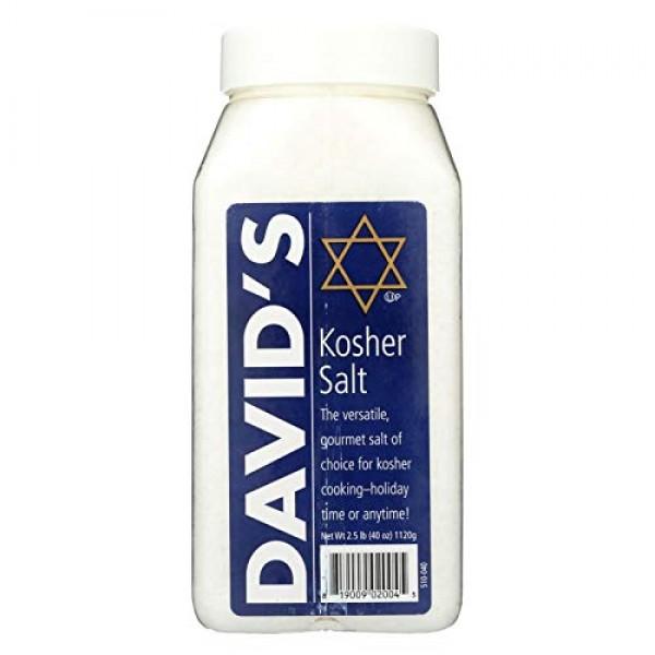 DAVIDS, KOSHER SALT, Pack of 6, Size 40 OZ - No Artificial Ingr...