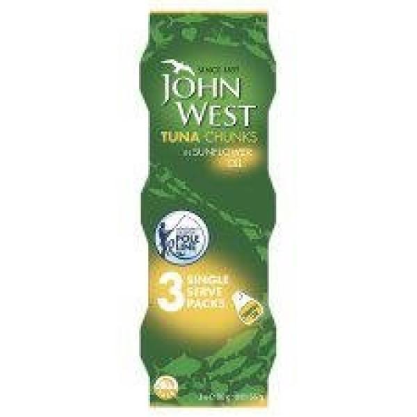 John West Tuna Chunks In Sunflower Oil Pole And Line 3 X 80G