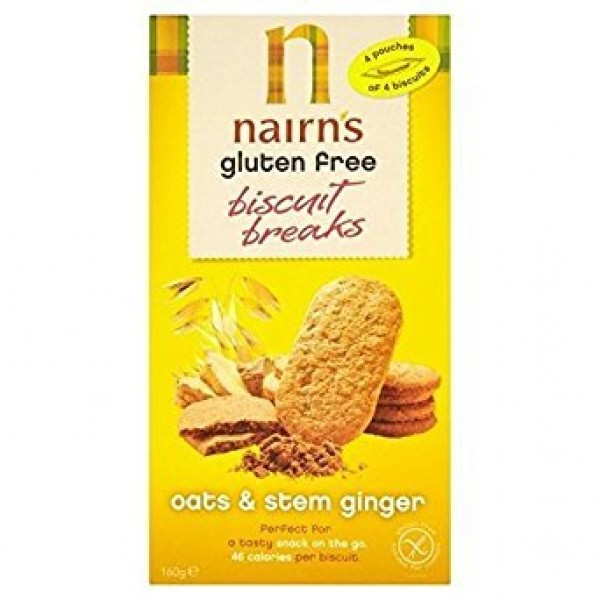 Nairns Gluten Free Stem Ginger Biscuit Break 160g - Pack of 2