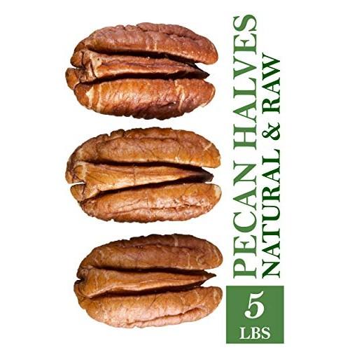 Raw Pecans, HALVES in 5 lbs Bulk and Vacuum bag. 100% Natural pe...
