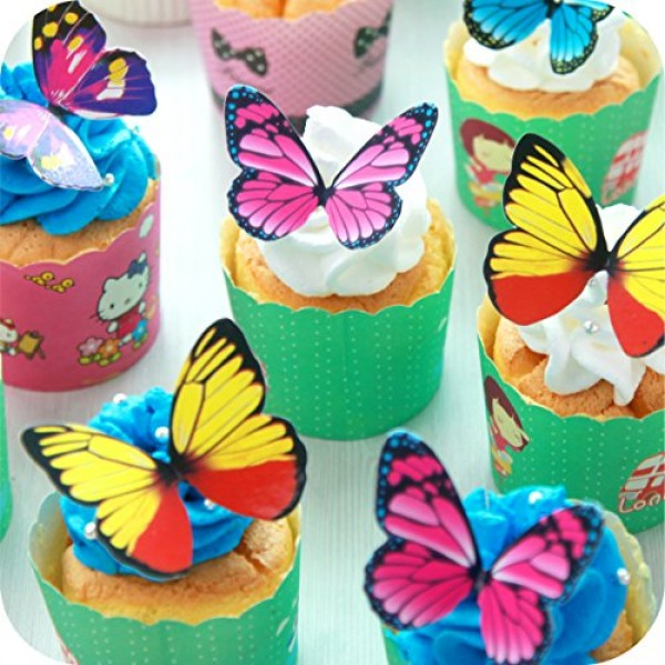 Butterfly cake Toppers 40Pcs Set, GUCUJI Chocolate Mousse Cake C...