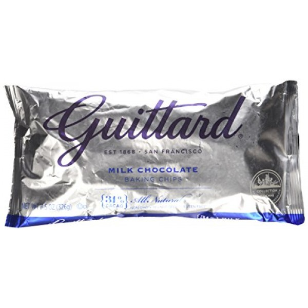 Guittard, Real Milk Chocolate Baking Chips, 11.5oz Bag Pack of 4