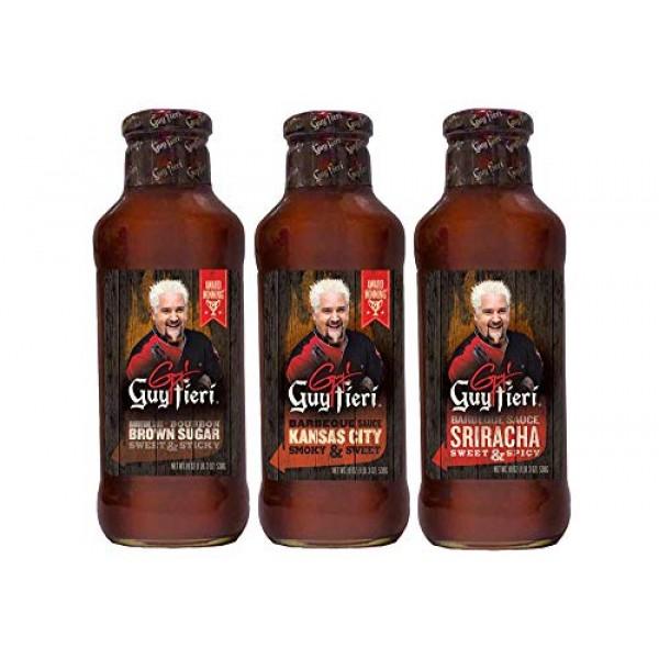 Guy Fieri Bourbon Brown Sugar BBQ Sauce 19 oz Kansas City Syle B...