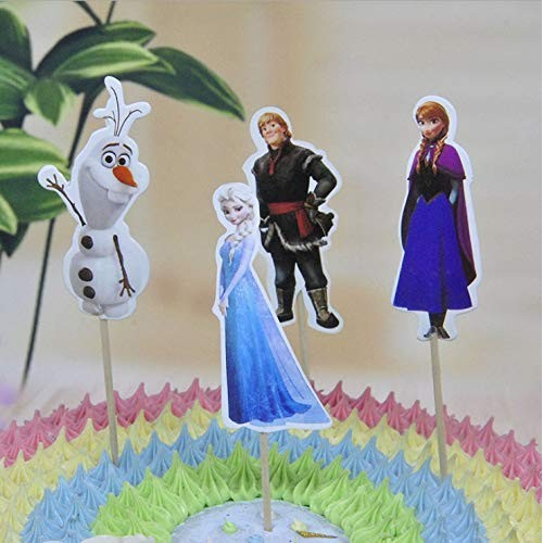 H&C replacement for frozen 24 pcs cupcake toppers for Birthday P...