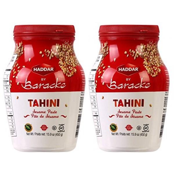 Haddar by Baracke 100% Pure Ground Sesame Tahini 15.9oz Jar 2 P...