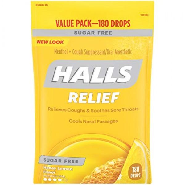 HALLS Sugar Free Honey Lemon Flavor Cough Drops, 1 Bag 180 Tota...