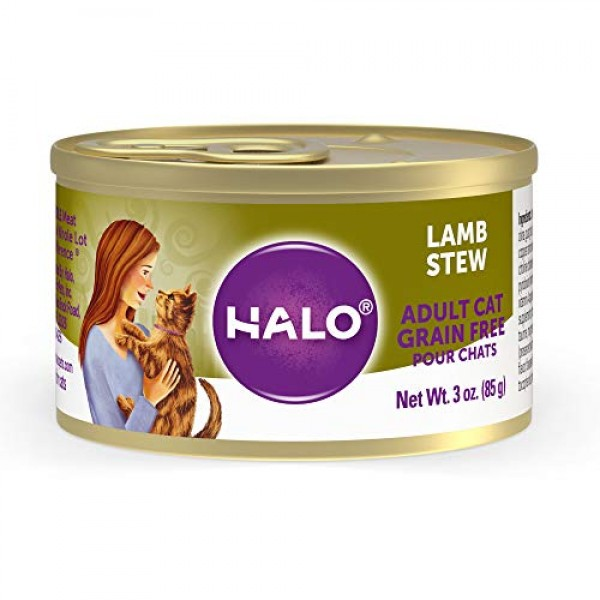 Halo Grain Free Natural Wet Cat Food, Lamb Stew, 3-Ounce Can Pa...