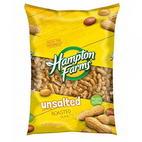 Hampton Farms Unsalted Roasted In-Shell Peanuts, 5 lbs. pack of 6