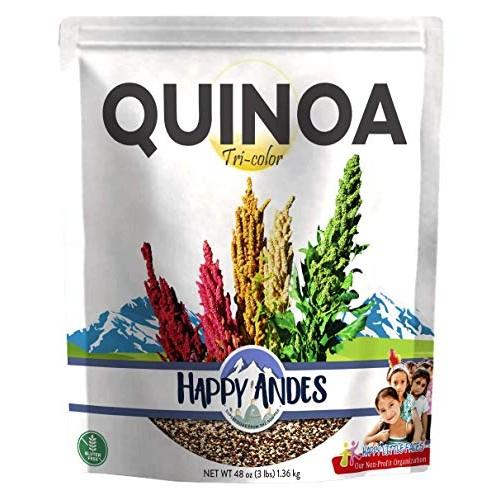 Happy Andes Tri-Color Quinoa 3 lbs - Non Gluten, Whole Grain Ric...