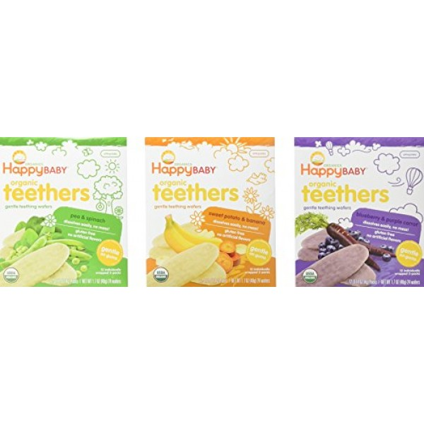 Happy Baby Organic Teethers Gentle Teething Wafers 3 Flavor Samp...