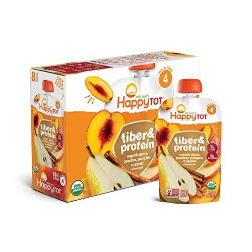 Happy Tot Organic Fiber & Protein Pears Apples Peaches Pumpkin +...