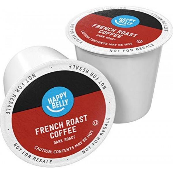Amazon Brand - 100 Ct. Happy Belly Dark Roast Coffee Pods, Frenc...