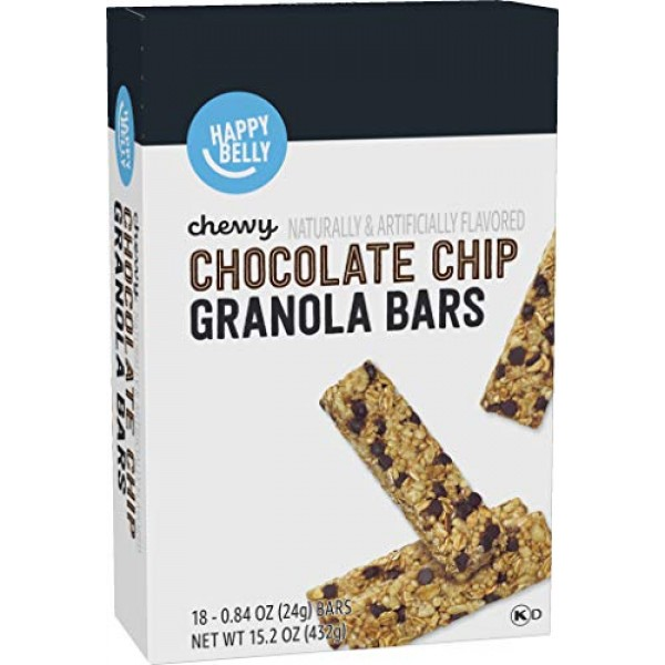 Amazon Brand - Happy Belly Chewy Chocolate Chip Granola Bars, 18...