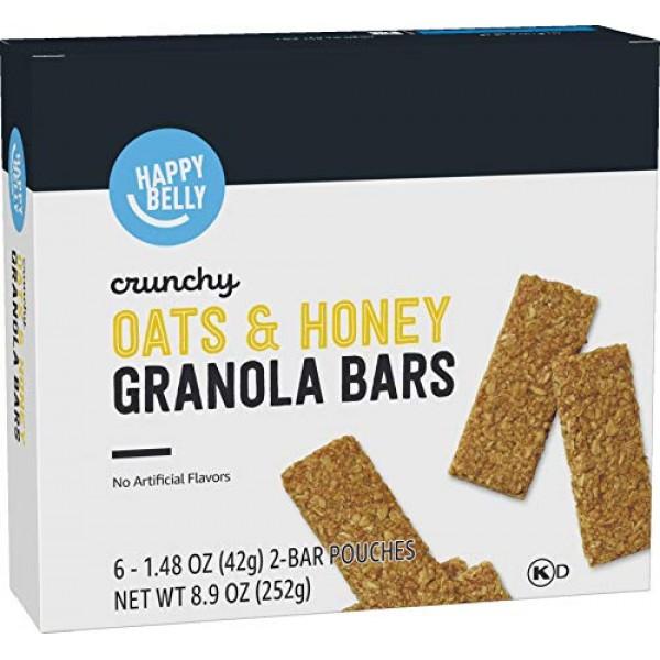 Amazon Brand - Happy Belly Crunchy Oats & Honey Granola Bars, 6 ...