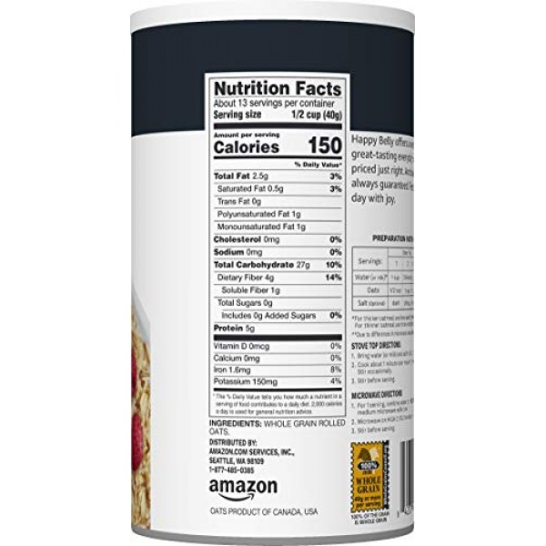 Amazon Brand - Happy Belly Old Fashioned Oats, 18 Ounce
