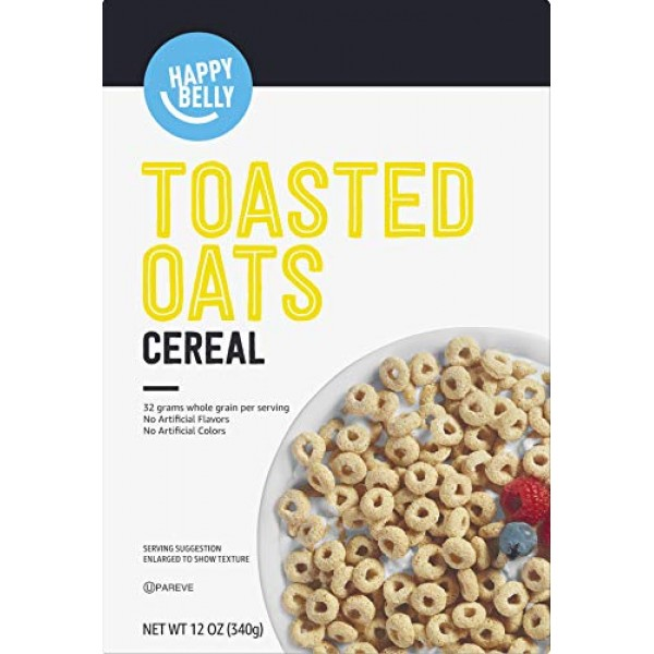 Amazon Brand - Happy Belly Toasted Oats Cereal, 12 oz