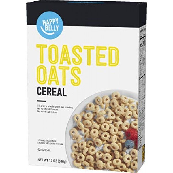 Amazon Brand - Happy Belly Toasted Oats Cereal, 12oz