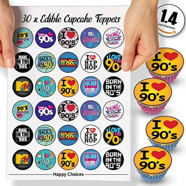 30 x Edible Cupcake Toppers Themed of 90s Party Collection of Ed...
