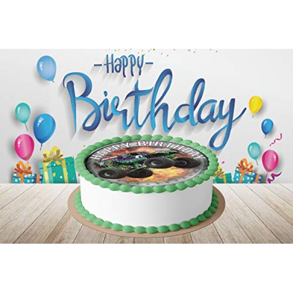 7.5 Inch Edible Cake Toppers – Monster Jam Line New Themed Birth...