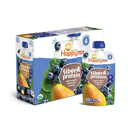 Happy Tot Organic Stage 4 Fiber & Protein, Pears, Blueberries & ...