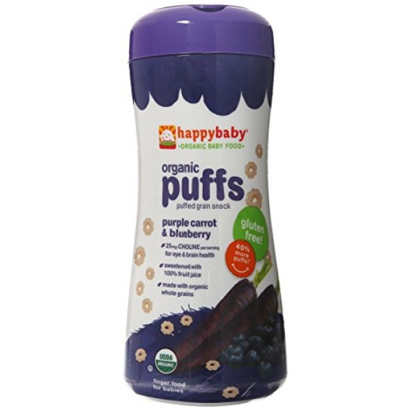 Happy Puffs Purple Carrot and Blueberry, 2.1 Ounce