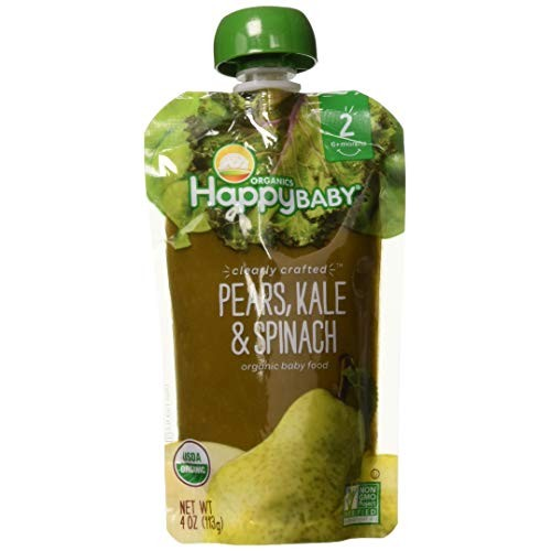 Happy Baby Organic Clearly Crafted Stage 2 Baby Food, Pears/Kale...