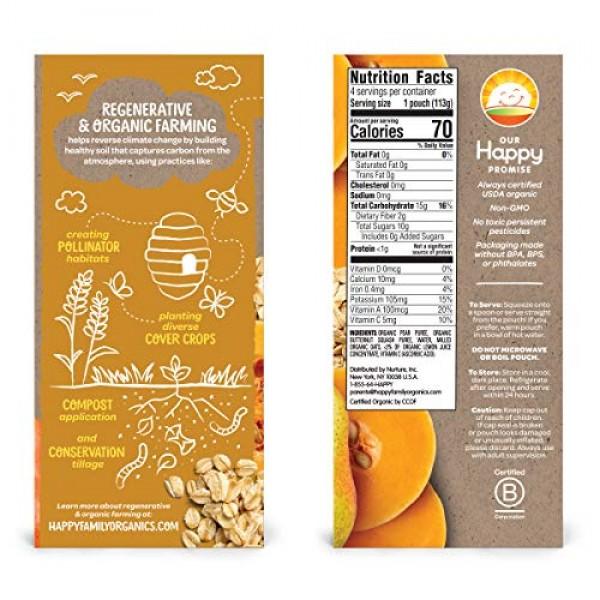 HAPPY BABY Pear, Squash & Oat Regenerative Baby Food 4 Count, 16 OZ