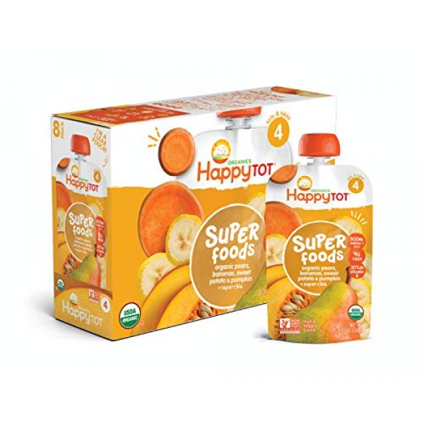 Happy Family Tot Organic Stage 4 Super Foods Pears Bananas Potat...