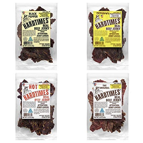 Hard Times Real Beef Jerky, Variety Sampler Pack, No MSG, 2.25 O...