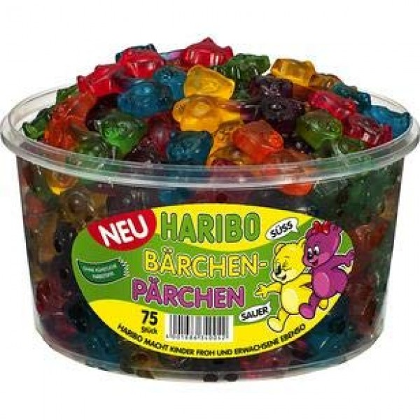 Haribo Bears Couples, Fruit jelly, Wine Gums, Jelly Bears, 75 pi...