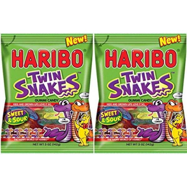 Haribo Twin Snakes Sweet & Sour Gummi Candy - NEW 2016 - 5 oz Ba...