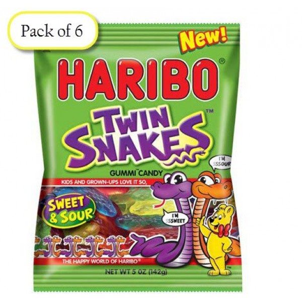 Haribo Twin Snakes Sweet & Sour Gummy Candy - NEW 2016 - 5 oz Ba...