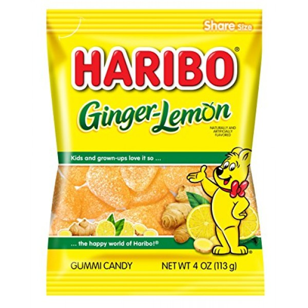 Haribo Gummi Candy, Ginger-Lemon, 4 oz. Bag Pack of 12