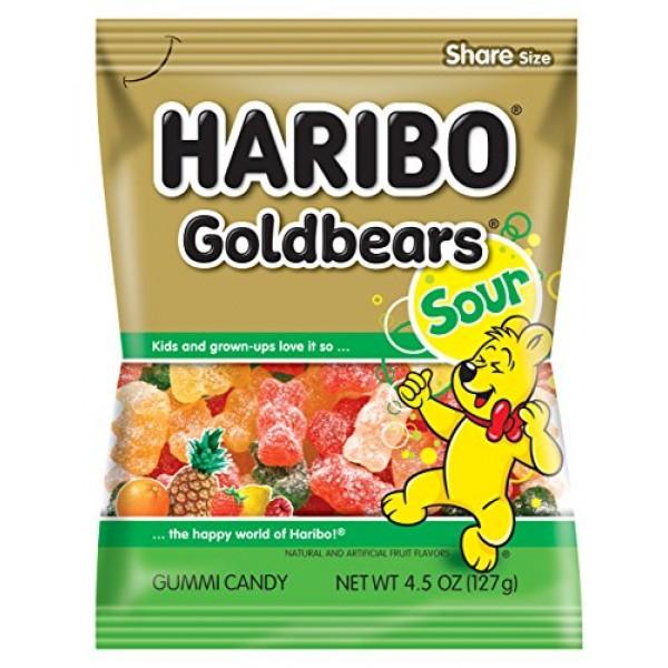 Haribo Gummi Candy, Goldbears Gummi Candy, Sour, 4.5 oz. Bag Pa...