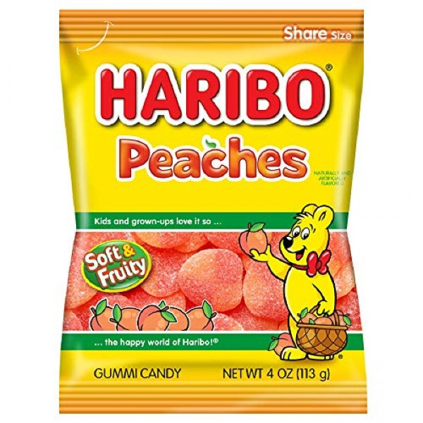 Haribo Gummi Candy, Peaches, 4 ounce Pack of 12