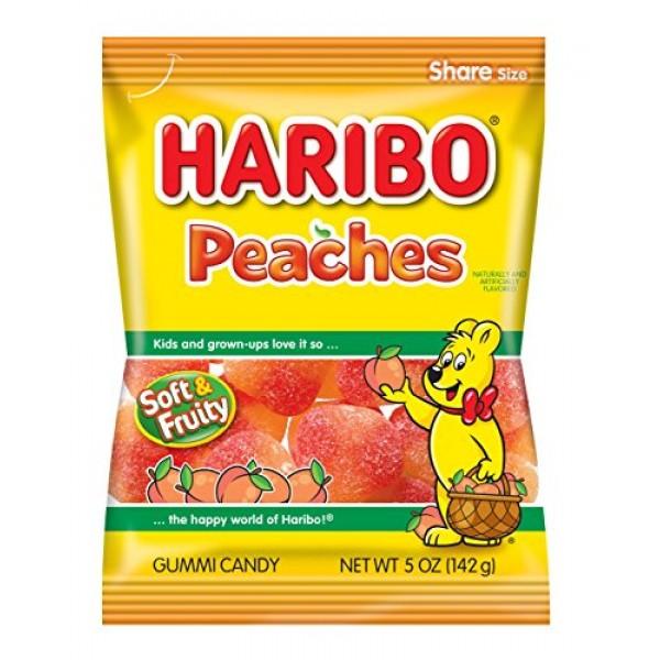Haribo Gummi Candy, Peaches, 5 oz. Bag Pack of 12