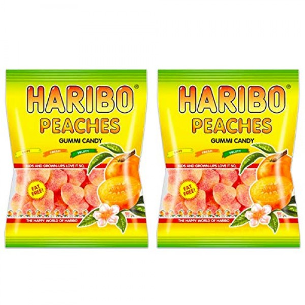 Haribo Peaches Gummi Candy 4 oz bag 2 bags 8 oz total