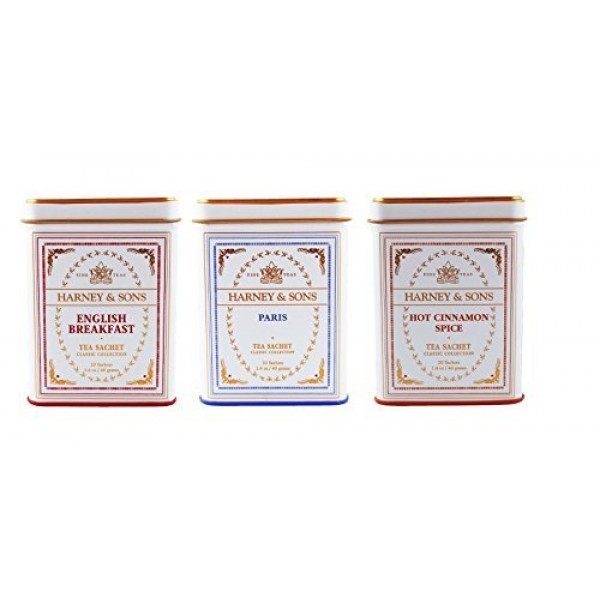 Harney & Sons Classic Tins, 3 Flavor Variety Pack 1-Paris, 1-H...