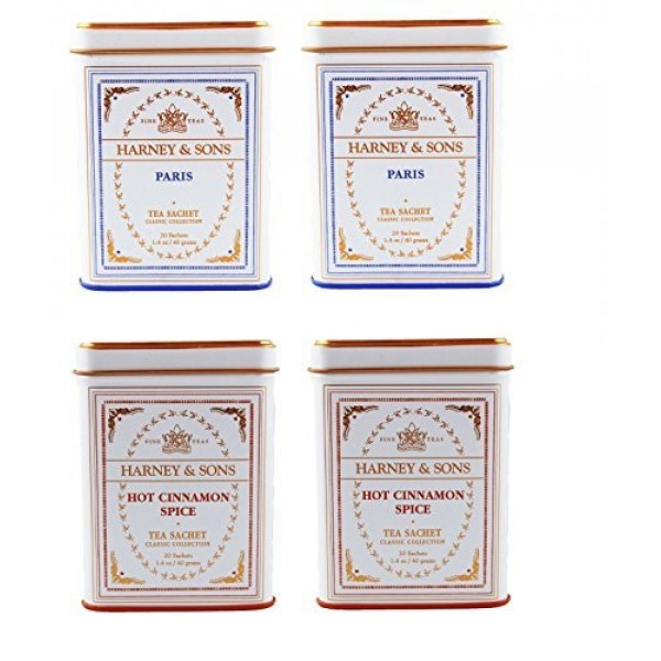 Harney & Sons Classic Tins, 2 Flavor Variety Pack 2-Paris, 2-H...