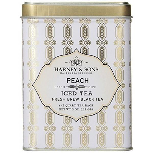 Harney & Sons Black Iced Tea, Peach, 6 Tea Bags