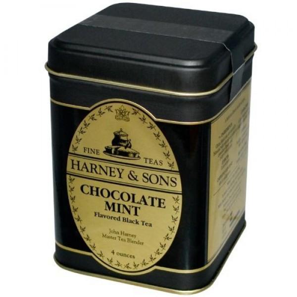Harney & Sons, Chocolate Mint Flavored Black Tea, 4 oz