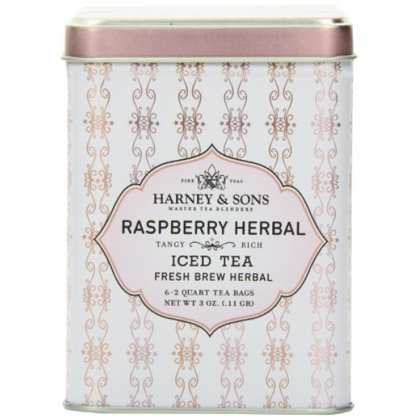 Harney & Sons Herbal Iced Tea, Raspberry, 6 Tea Bags