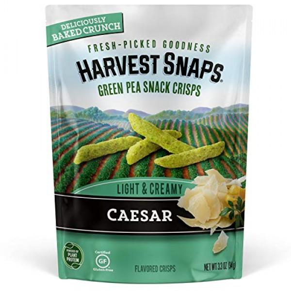 Harvest Snaps Green Pea Snack Crisps Caesar, 3.3 oz Pack of 4....