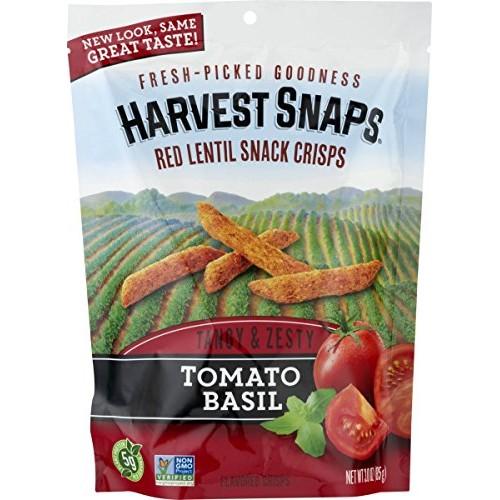 Harvest Snaps Tomato Basil Red Lentil Snack Crisps, Gluten-Free,...