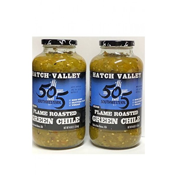 505 Southwestern medium flame roasted Green Chiles 40 oz 2