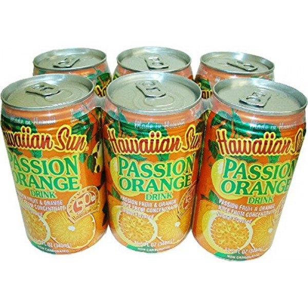 Hawaiian Sun Tropical Orange Fruit Drinks 11.5 fl oz Cans Passi...