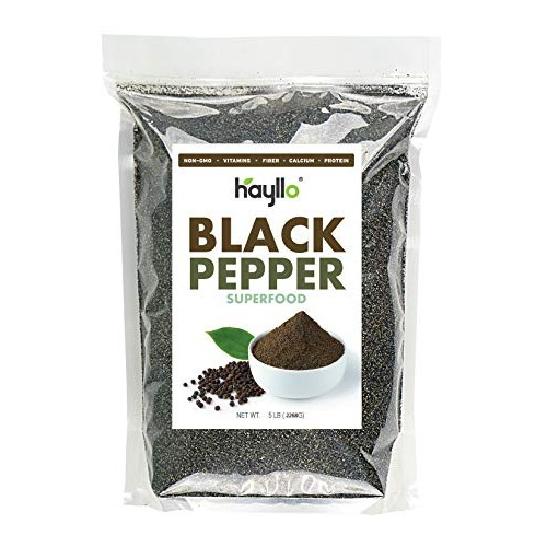 Hayllo Black Pepper Fine Ground in Resealable Bag, 5 LB