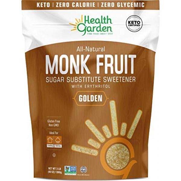 Health Garden Monk Fruit Sweetener, Golden- Non GMO - Gluten Fre...